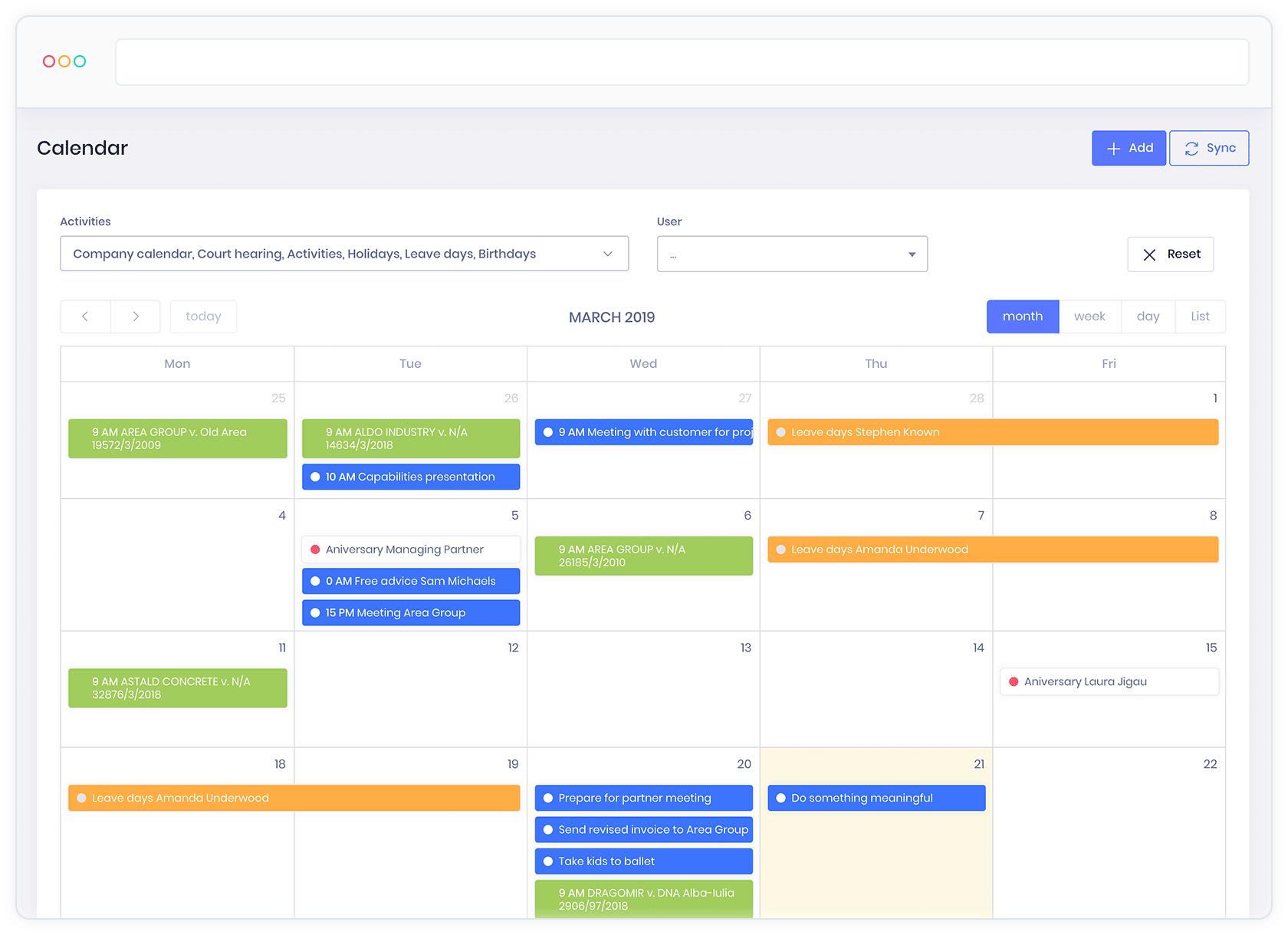 Calendar litigii - Keyvision PRO, soft avocati