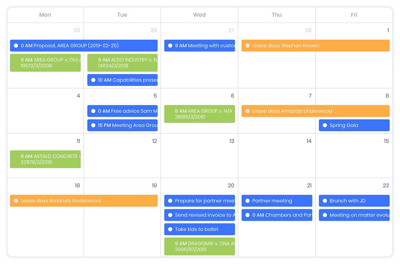 Calendar avocat KeyVision